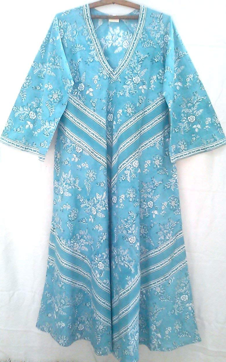 52f6e86fe8 Get Quotations · Robins Egg Blue Chinoiserie Floral Vine Anokhi Hand block  print Indian cotton Afghan style Maxi Dress