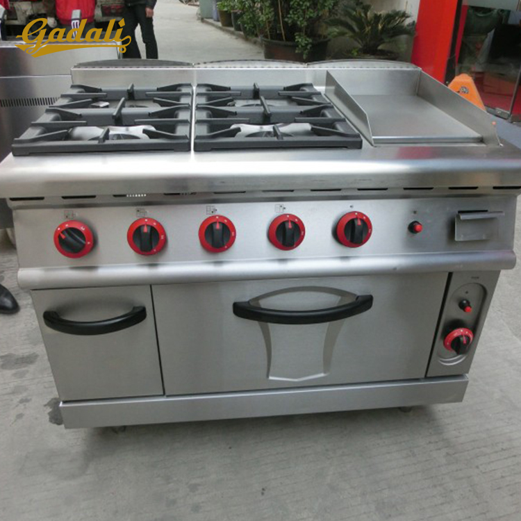 Cheap commercial gas stove griddle gas range with 4-burner & griddle & oven sure
