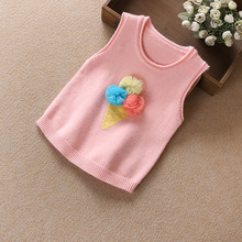 B21944A New fashion candy colors cartoon vest cute knitted vest