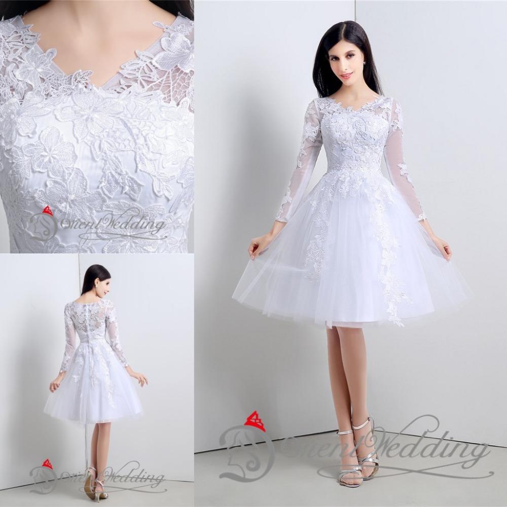 Short Sleeve Simple Wedding Dress: 2015 Free Shipping Little Simple White Wedding Dresses
