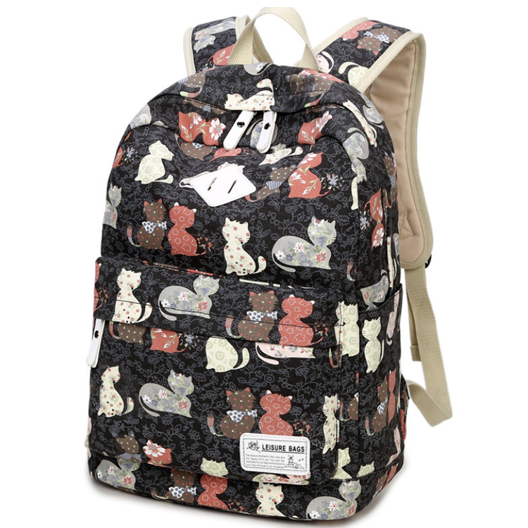 Osgoodway OEM Trendy Canvas Mochilas Teens Backpack School Bags Women School Backpack