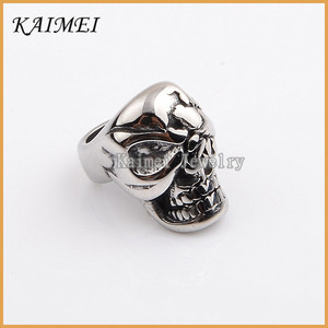 New Style Fashion Accessory High End Charm Silver Big Hole Decorative Skull Beads For Sale