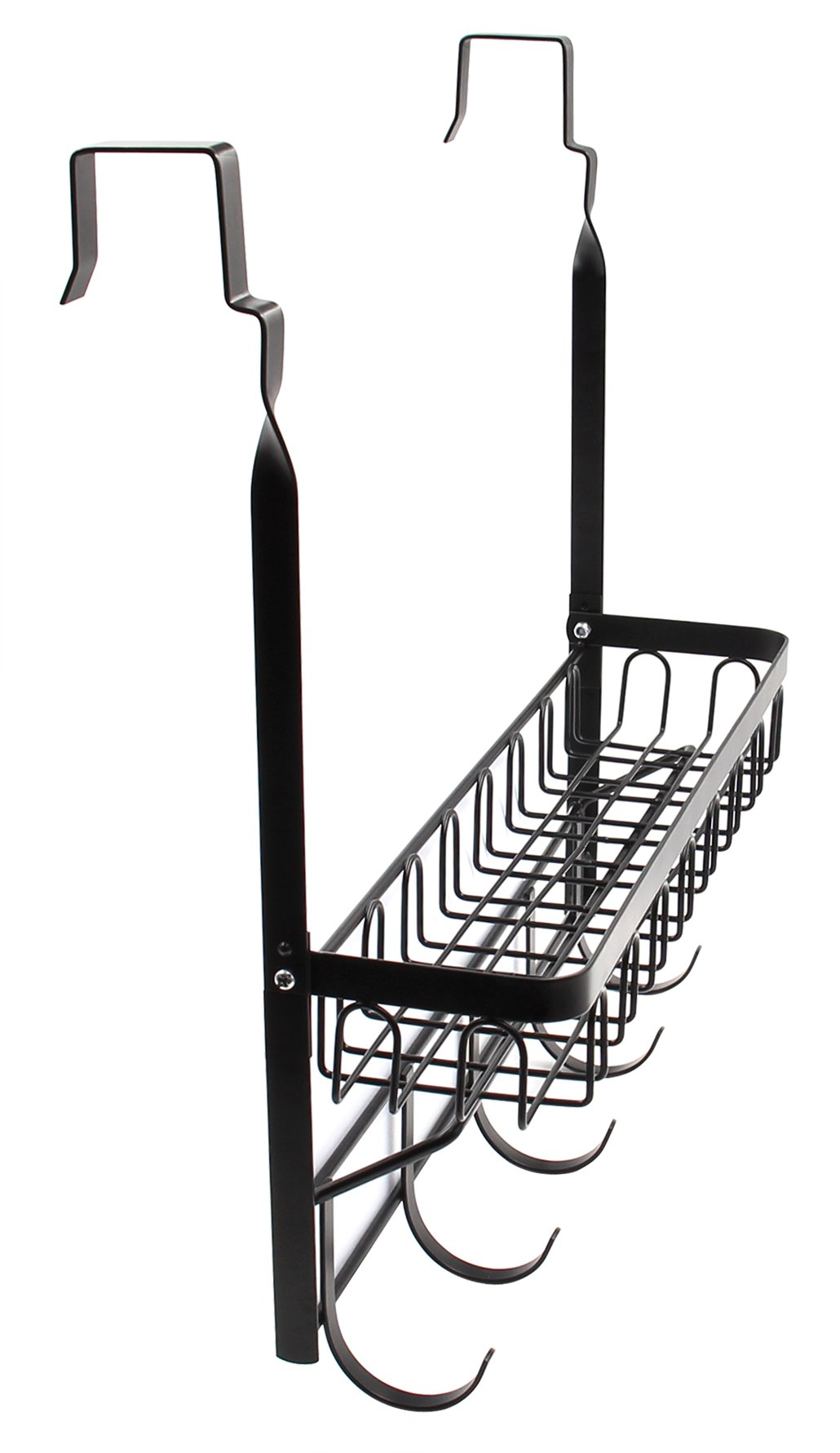 ESYLIFE Over the Door Hooks Organizer with Basket Hanging Storage Rack with Towel Bar, Black