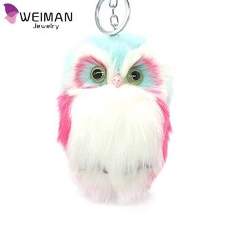 Custom Faux Rabbit Fur Owl Keychain for Women s Bag Pendant Keyring 3835318a9