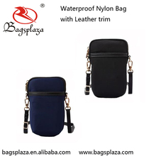 Online Shopping High Quality Sport Nylon Cell Phone Bags With Leather Trim