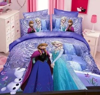 3d print microfiber duvets bedroom linen bedding sets children, 100% Polyester bed sets duvet covet frozen character sheet