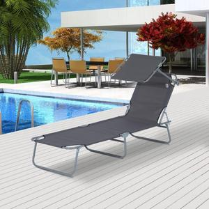Pool furniture steel sun canopy camping lounge chair portable lightweight foldable beach bed