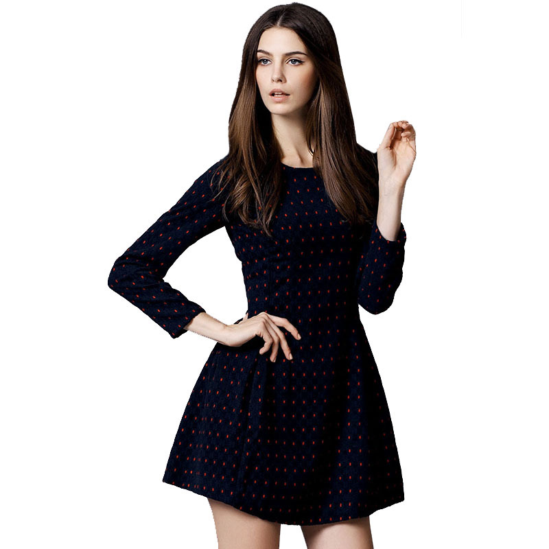 Buy Tweed Dress 2015 Autumn Winter Cute Dresses Cheap Desigual Polka