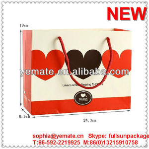 Heartr shape decorate brown paper bag, paper bag decorations for wedding party guest gift and dress