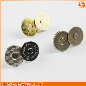 18mm magnetic button lock for leather bags and handbags