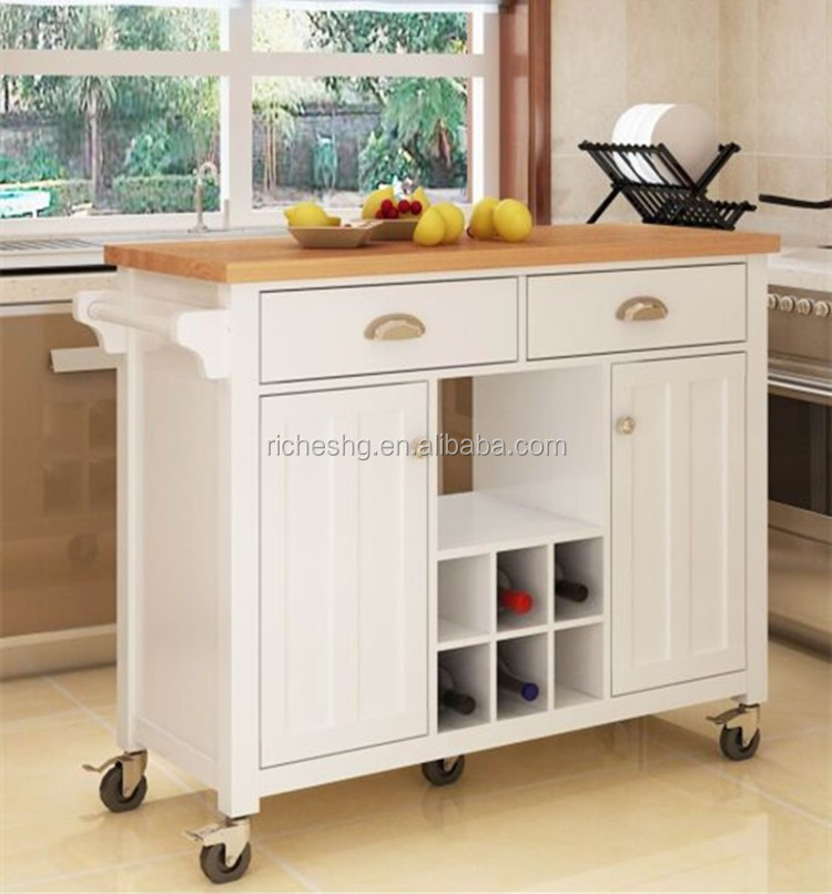 White Kitchen Trolley bamboo top wooden kitchen serving trolley with wheels,white
