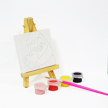 Pre Stretched Mini Art Canvas & Easel Set for Kids Painting Party
