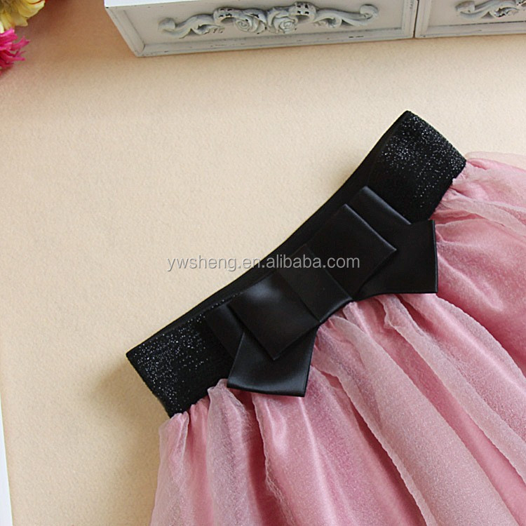 Europe and American wholesale mini chiffon skirt summer puffy short tutu tulle skirt with big bow