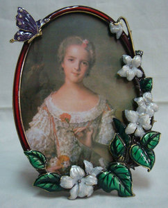 Antique jeweled 4''x6'' pewter metal oval flower photo frame with crystal (P0103146a)