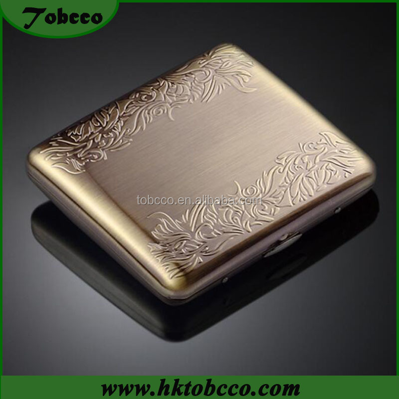 Flowers engraved design Smoker Smoking Tin Box Metal Cigarette Pack Case Holder with Customized Logo