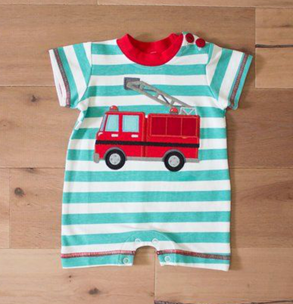 2017 new design Baby Boys Black Stripes Red Fire Truck Romper