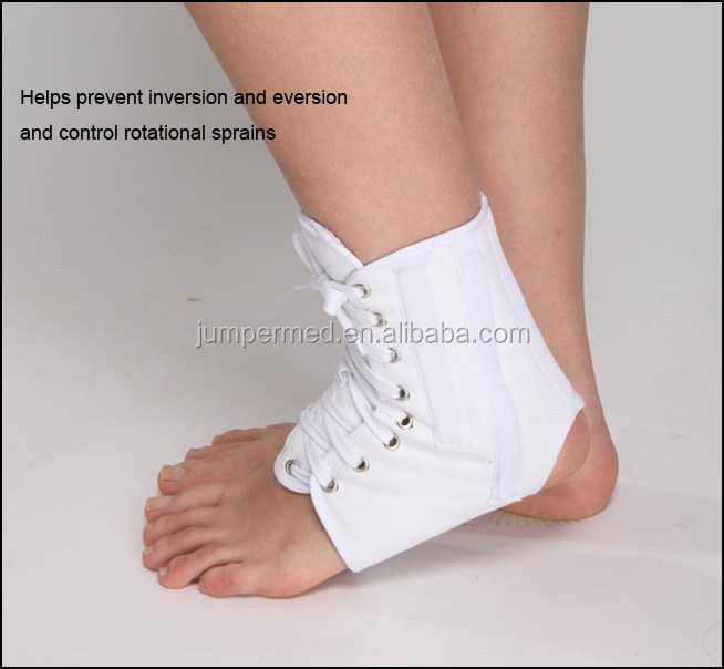 Lace-up ankle braces with soft flannel lining/Ankle Brace Support with Stabilizer Breathable, White