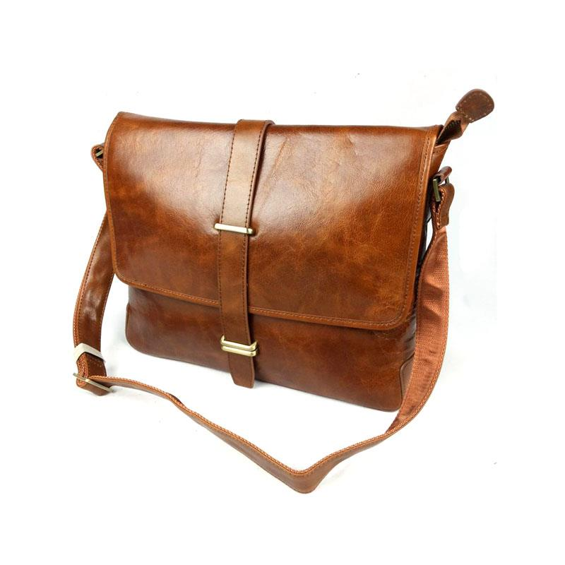 Vintage Fashion Casual Genuine Full Grain Leather Cowhide Oil Wax Men Messenger Bag Shoulder Bags For Men's Vintage Bag