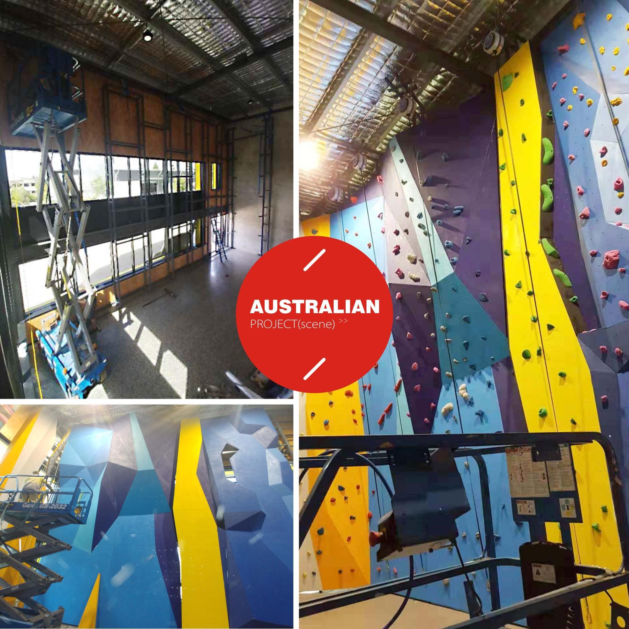 Guangzhou fitness park fiberglass boulders convex climbing wall