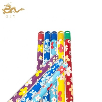 Wooden Broom Handle  Flowers Colorful PVC Coated Wooden Easy Mop Stick Holder