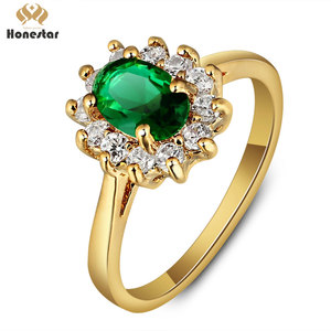 Honestar luxury women gold greated green gemstone wedding ring for anniversary gifts