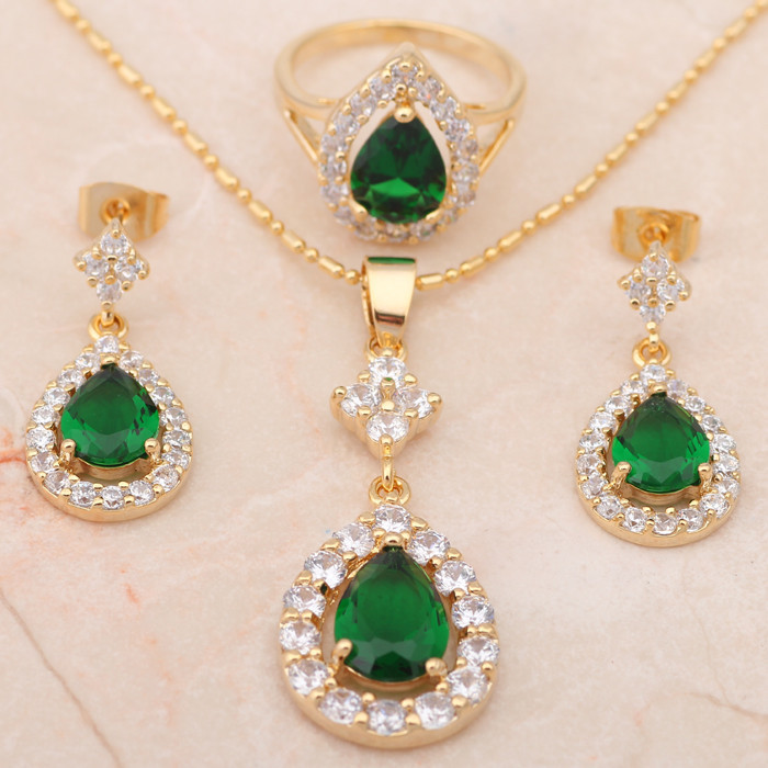 Fashion Jewelry 18K Gold Plated Green Crystal best quality Earrings Necklace Ring Sz 8 7 7