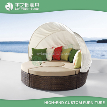 Rattan Garden Furniture Conversion Sofa Sunbed Round Sectional Outdoor Wicker Bed With Canopy