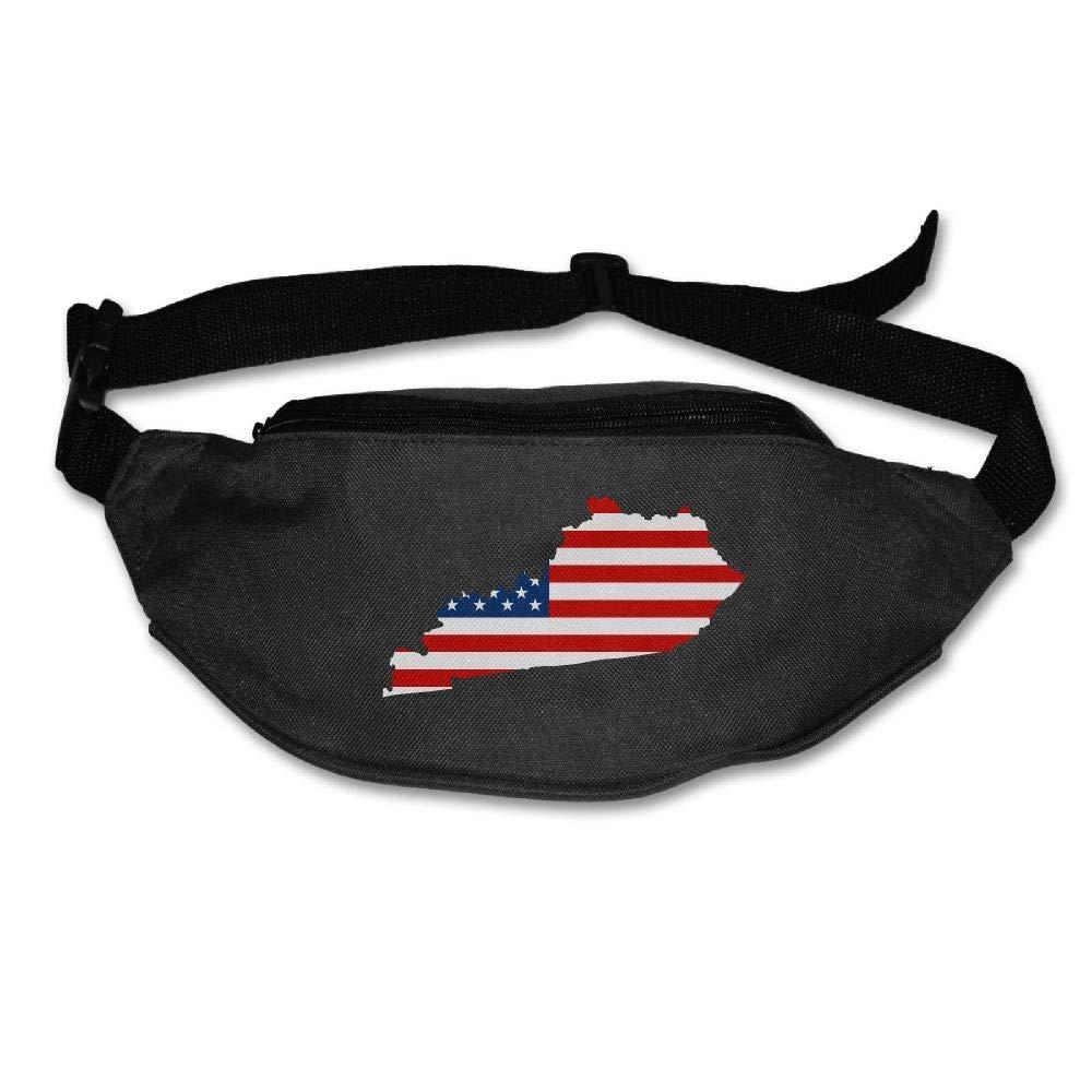 Eden Edies Kentucky State Map Shape The USA Flag Unisex Waist Pack Bag Belt