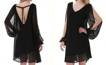 Black V Neck Split Long Sleeve Embroidered Shift Dress