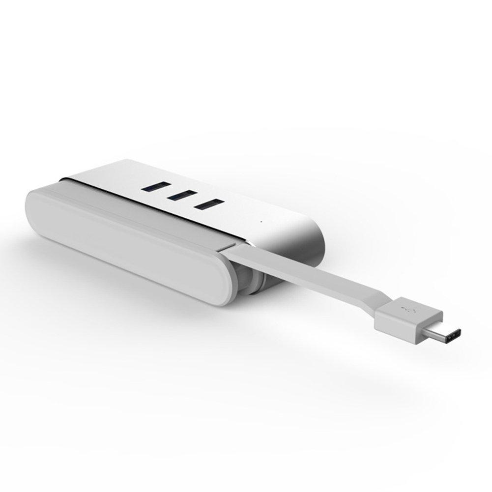SNEER Magnesium-Aluminium Alloy 3-Port USB 3.0 HUB with 10/100/1000 Gigabit Ethernet Converter for Apple MAC Book Pro,Surface (3 USB 3.0 Ports, A RJ45 Gigabit Ethernet Port) #Silver