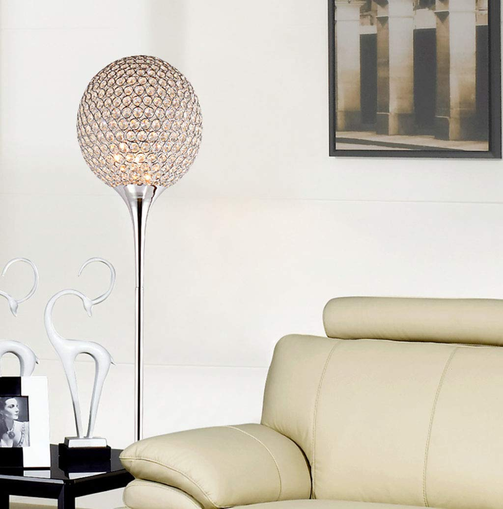 XXYYJJDT LYX Crystal Floor Lamp Modern suppore LED E27 Sconce Crystal Light Foyer Lamps Shade Home Decor Luminaire Study Room Lighting Home (Color : Chrome, Size : White Light)