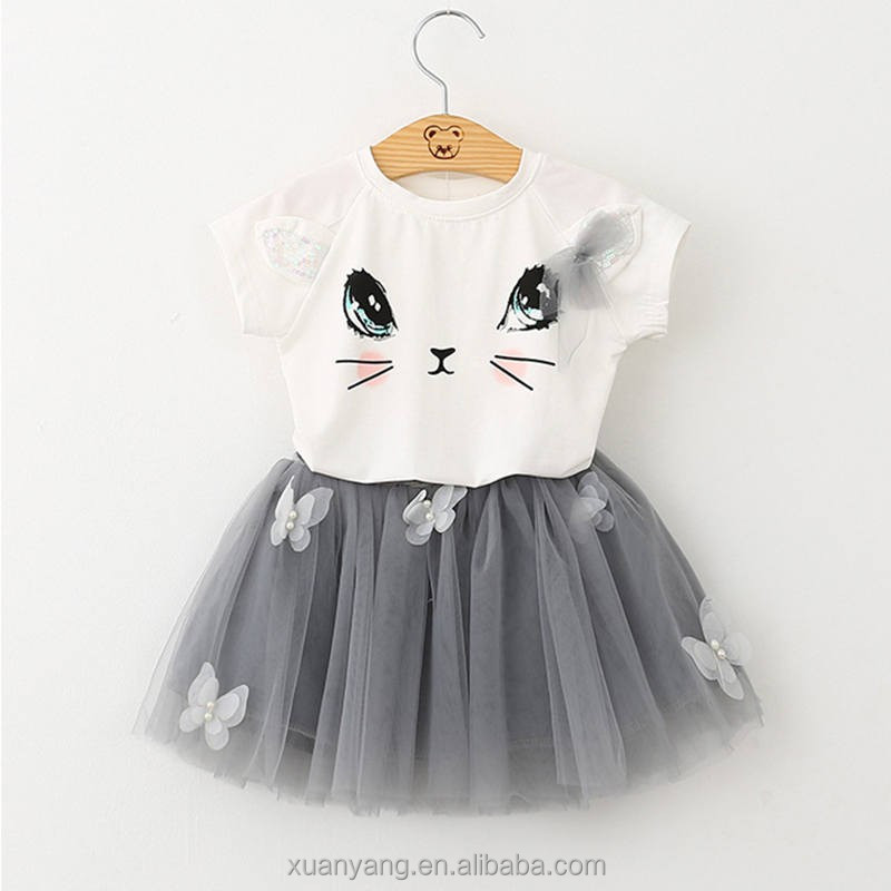 Lovely cat One piece dress pattern of Pearl baby dress boutique T shirt dress for kids wear