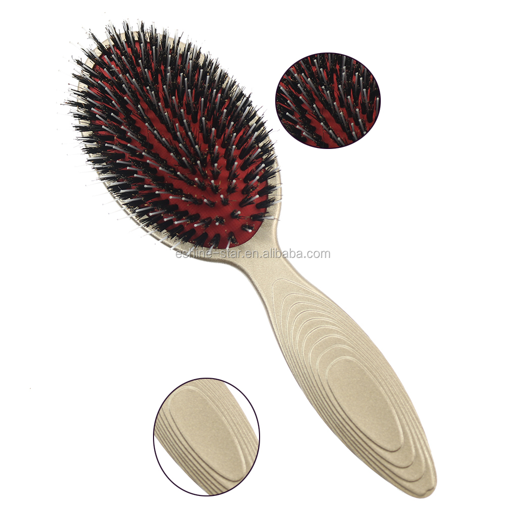 oval design porcupine boar bristle paddle and cushion hair brush