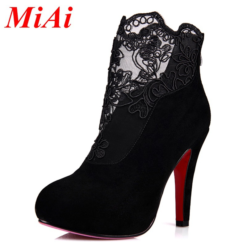 2015 new winter fashion ankle boots leather lace pointed toe zipper party boots women high heels ankle boots black boots woman