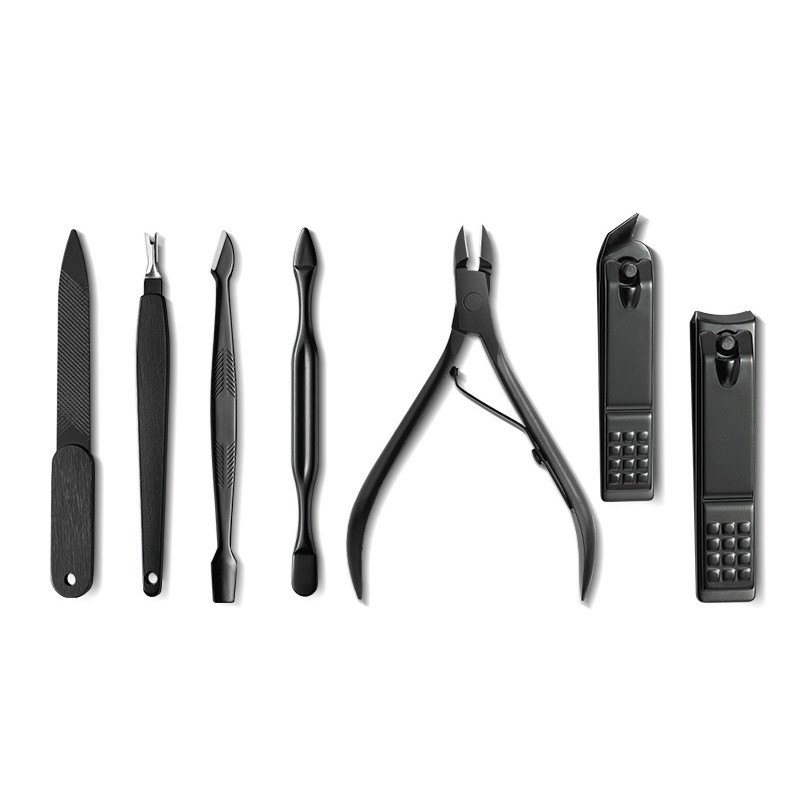 ICEQUEEN 18 pieces pure black cool stainless steel nail tools manicure pedicure set nail clipper set