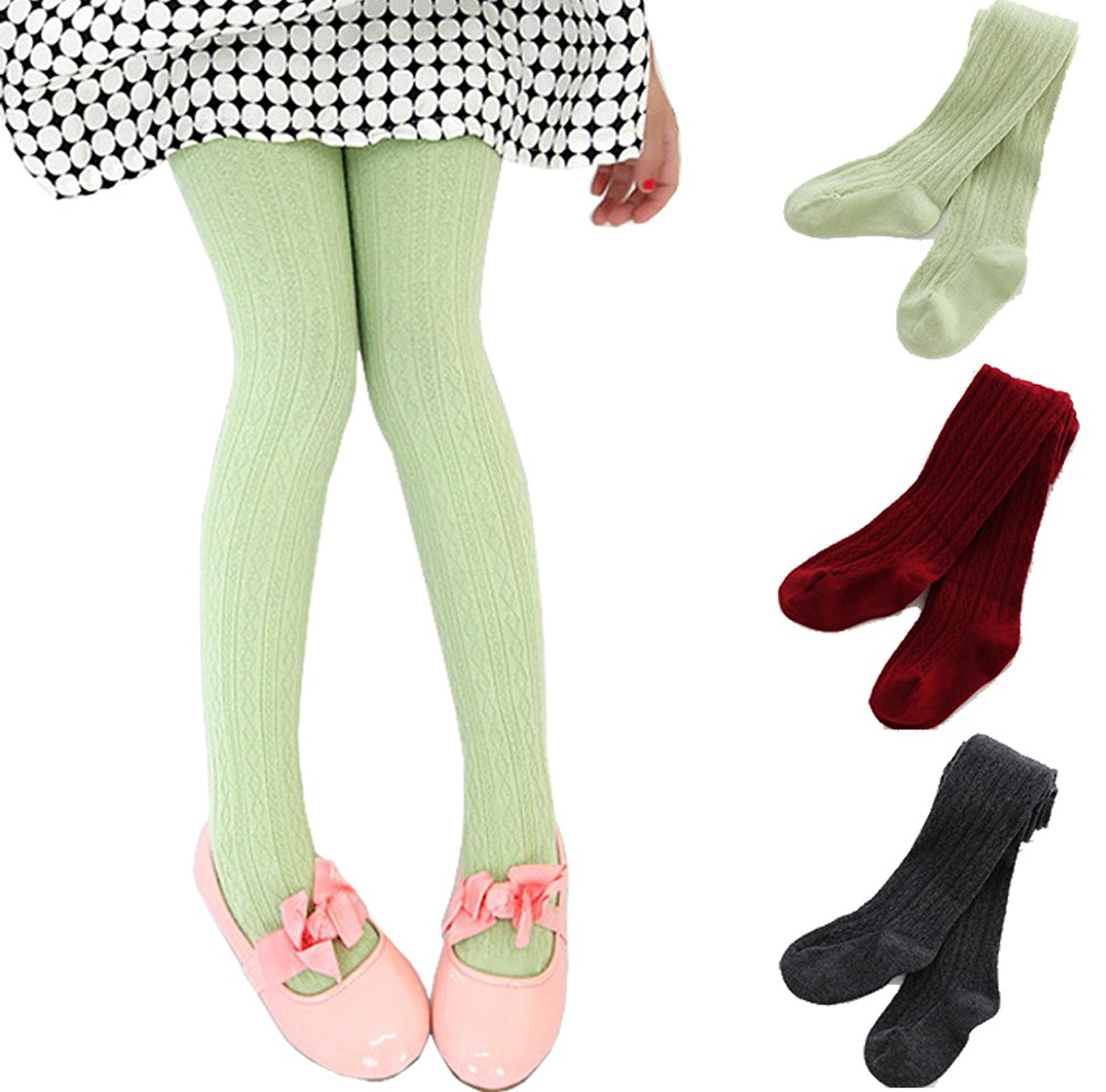 87c0e94523046 Get Quotations · 3 Pack Baby Toddler Girls Cable Knit Cotton Tights Footed  Leggings Pantyhose 2-10 Yrs