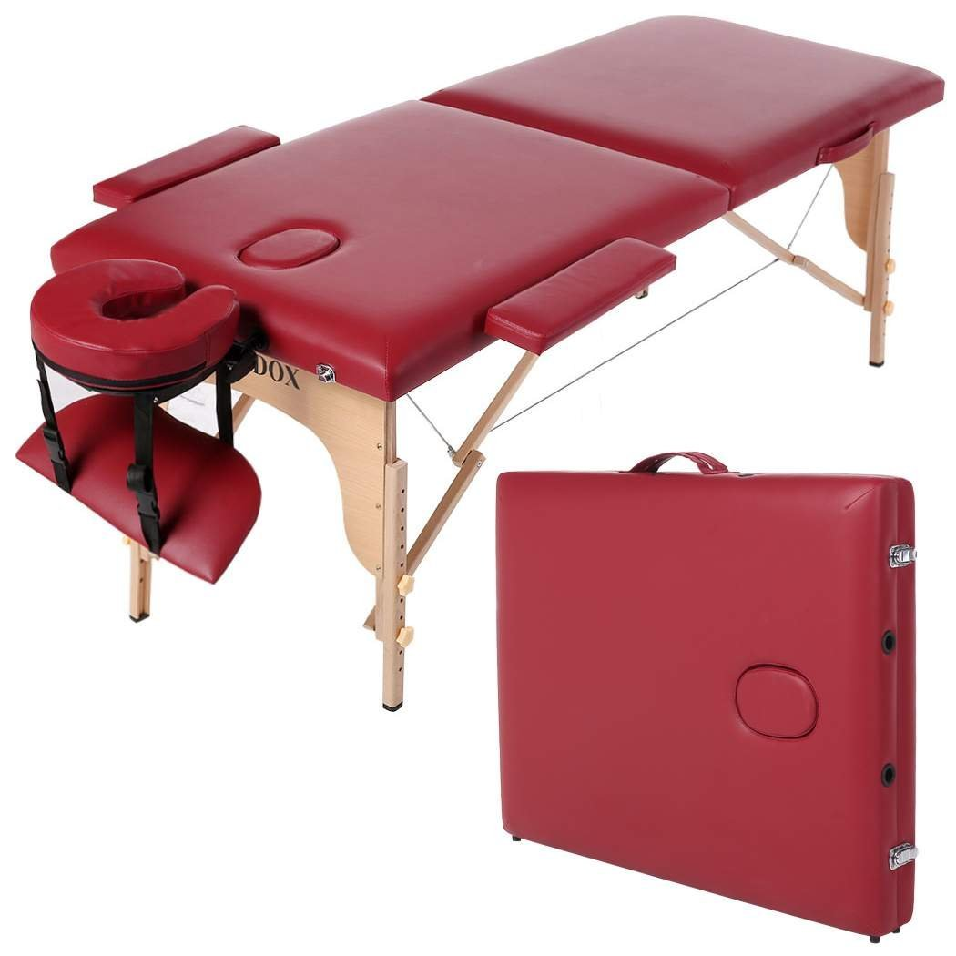 Homdox Professional Massage Table, Two-Fold Massage Bed Portable Massage Tables Facial Spa Tattoo Bed, Red Wood