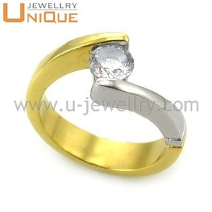 Fashion Gold plating casting ring Stainless steel ring CZ rings jewlry wholesale (R1314)