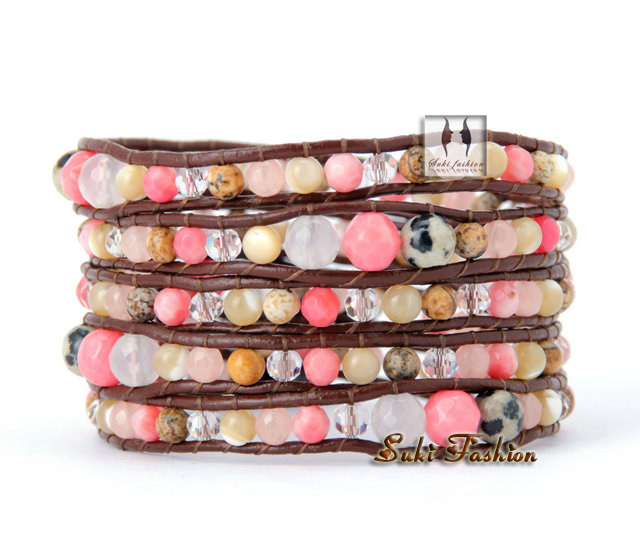New High Quality Graduated Mixed Natural Stones Leather Wrap Bracelets Vintage Weaving Wrap Bracelets 2014 Accessories