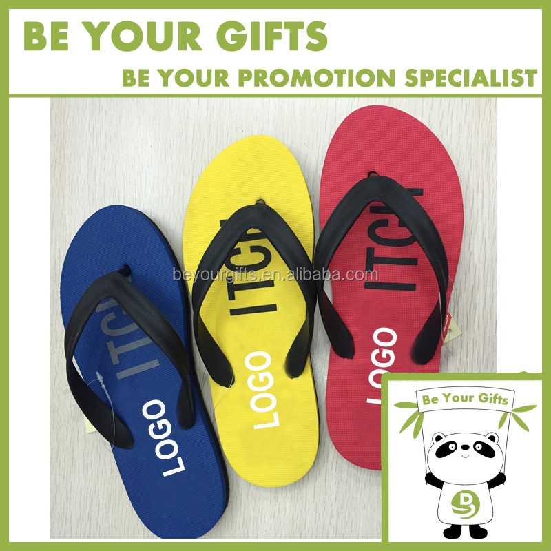 Summer Promotional Custom Logo Printed EVA plastic flip flop slipper Beach Slipper