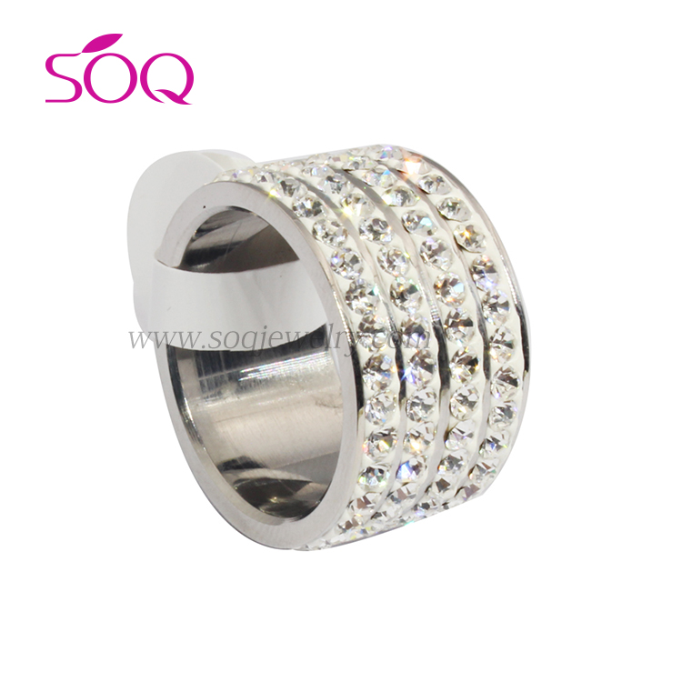 QR-0085 China Wholesale stainless steel women diamond rings china factory fine diamond ring