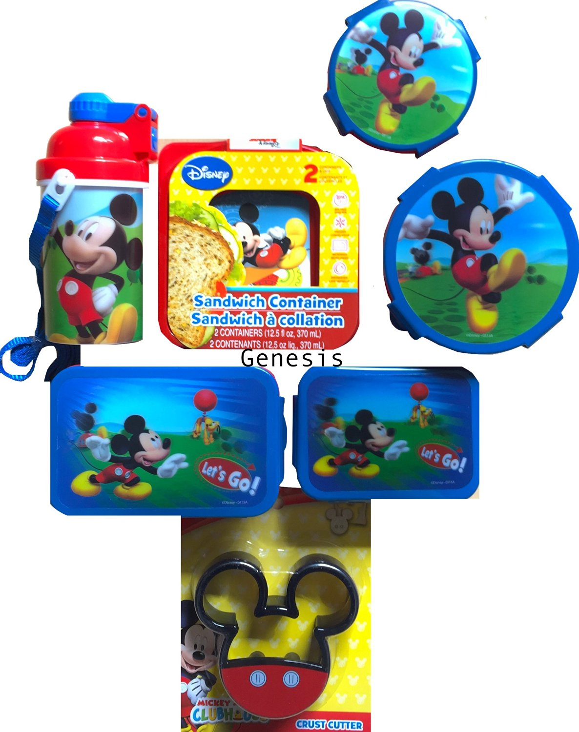 Mickey Mouse 7 Pc Children's Lunch Gift Set Snack & Food Storages, Bottle, & Crust Cutter