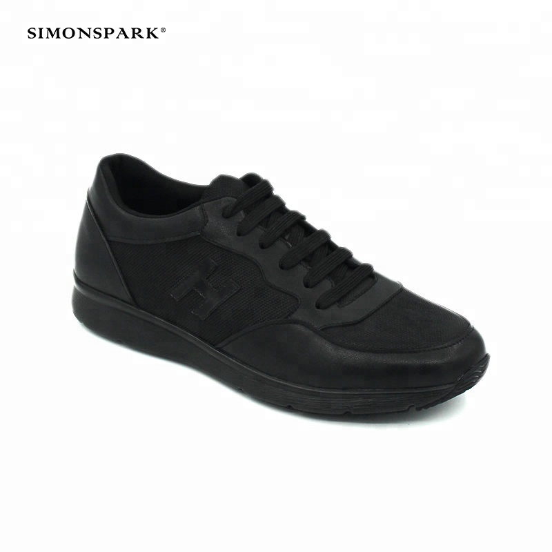 Comfortable casual shoes latest men black sneakers running design fashion leather sport pp5xrAq7w