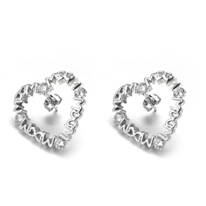 hot sale joyeria de plata sorority 925 stud cristall heart earring