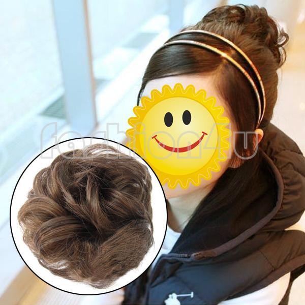 Eq7454 девушки вьющиеся волосы расширение scrunchie бун упругой парики блюдо купол прически светло-коричневый