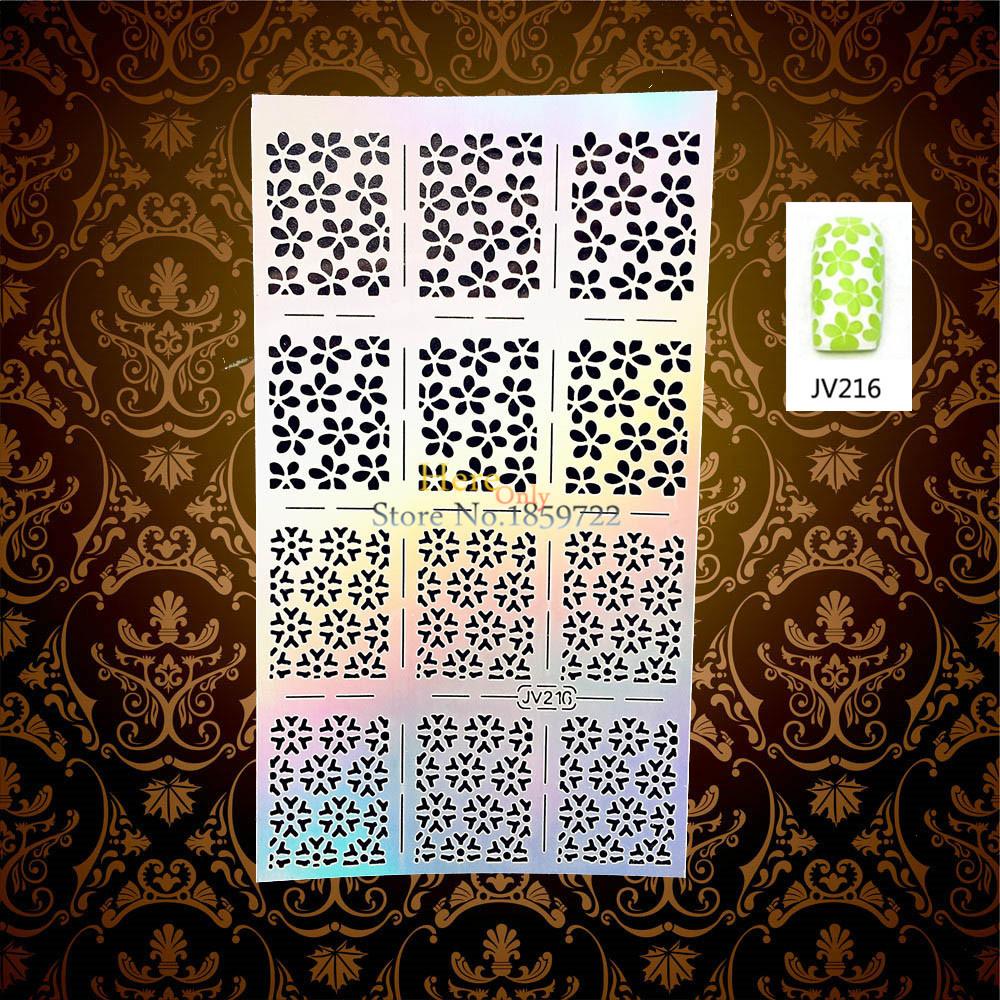1PC Flash Frozen Snowflake Design Nail Art Holo Template Stencil Pollish Aribrush HJV216 Xmas Christmas Pattern