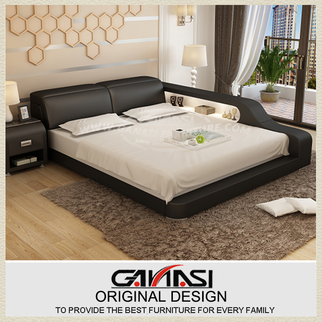 Led Reading Light Leather Bed Modern Bedroom Set By Foshan Ganasi Furniture