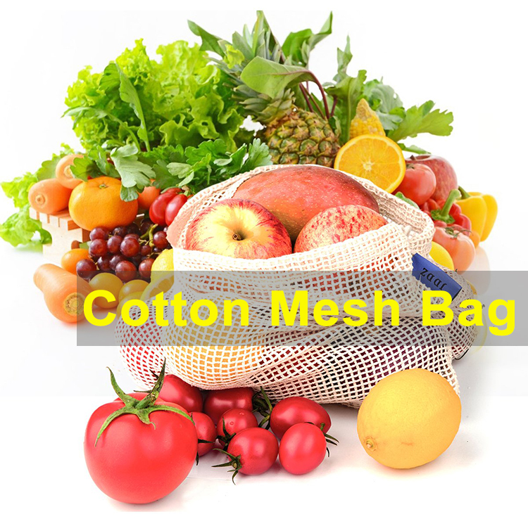 3pcs/set ECO Friendly Reusable Fruit And Vegetable Organic Cotton Mesh Net Produce Bags For Grocery Shopping