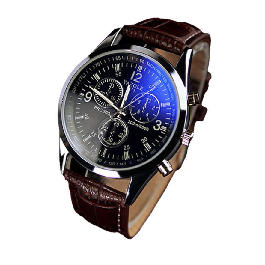 Дизайн свободного покроя кварцевый часы мужчины роскошные часы синий рэй стекло циферблат наручные часы искусственная кожа часы