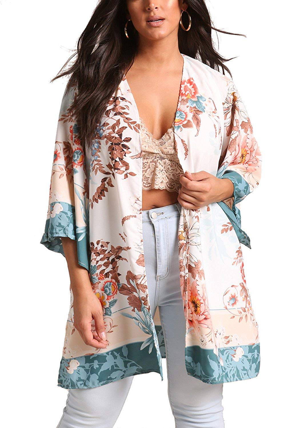 1760f98d448 Get Quotations · Debshops Womens Plus Size Floral Wide Sleeve Kimono